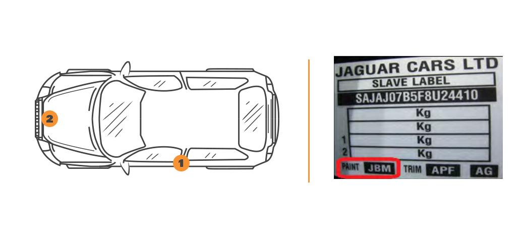 Emplacement code couleur Jaguar