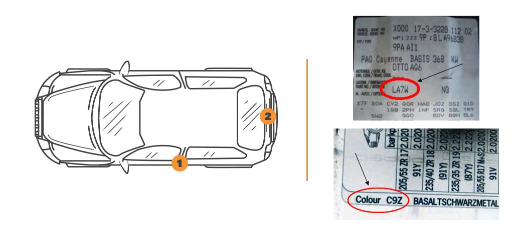 Emplacement code couleur Porsche